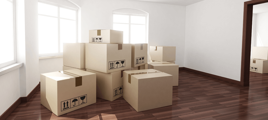 Pile of packed moving boxes