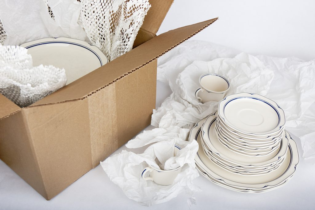 dishes and packing box